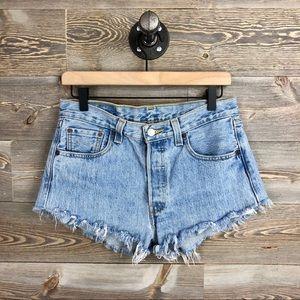 Levi's 501 Distressed Raw Hem High Jean Shorts